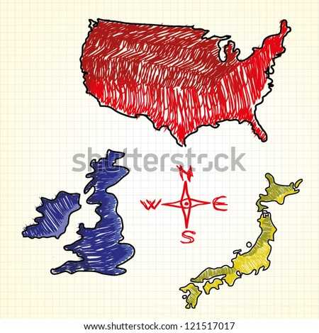 Hand drawn map of the USA, United Kingdom, Japan - stock vector