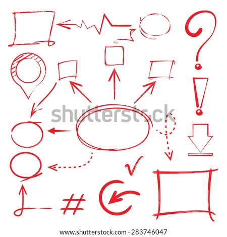 hand drawn marker infographics, hand drawn diagram, circle and rectangle elements - stock vector
