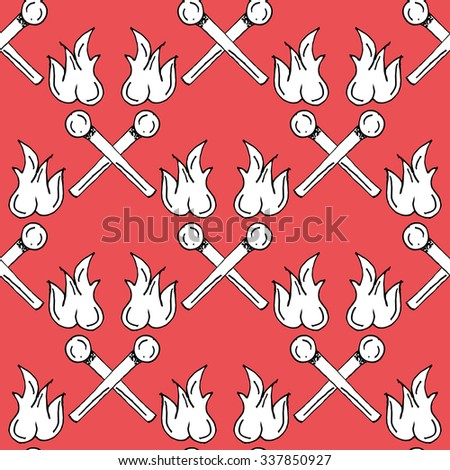 Hand Drawn Matches Paper Cut Illustration Pattern on Red Background - Camping and Outdoor or Mountain Adventure Doodle Color Seamless Pattern - Hand Drawn Vector Illustration - stock vector