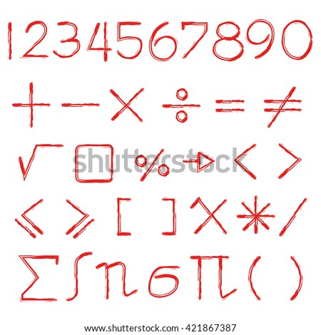 hand drawn math sign - stock vector