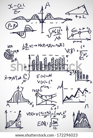 hand drawn mathematical formulas  - stock vector