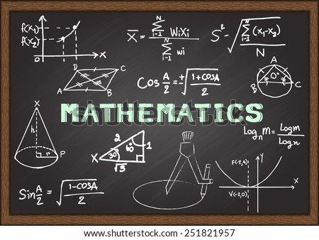 Hand drawn Mathematics on chalkboard. - stock vector