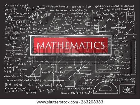 Hand drawn Mathematics on chalkboard. - stock vector