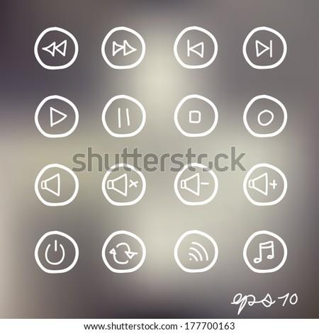 Hand drawn media Icons - stock vector