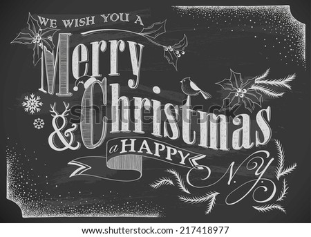 hand-drawn Merry Christmas card on chalkboard - stock vector