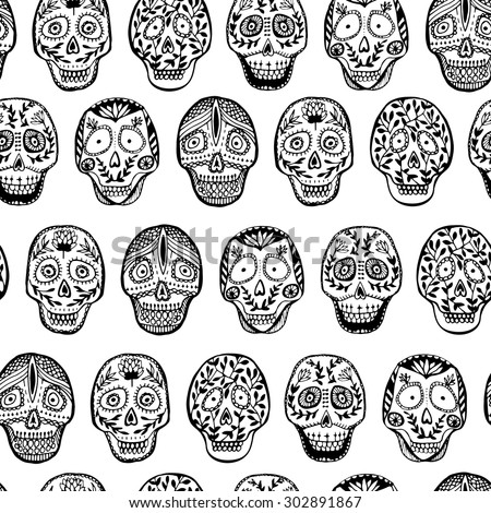 Hand drawn mexican skull seamless pattern with floral ornament. Halloween pattern. Set of 6 scull in vector. - stock vector