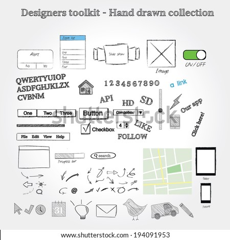 Hand drawn mockup graphics - stock vector