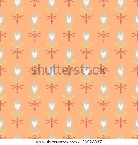 Hand drawn modern floral ornamented seamless pattern with bright colors and stylized flowers Texture for web, print, decor, textile, wrapping paper, Indian restaurant decor, summer fall fashion - stock vector