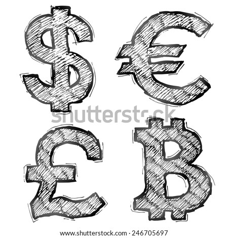 Hand drawn money symbols with hatching. Sketch of currency signs in doodle style. Qualitative vector illustration for banking, financial industry, economy, accounting, currency markets, etc - stock vector
