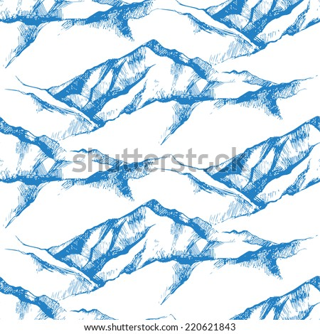 hand drawn mountain seamless pattern - stock vector