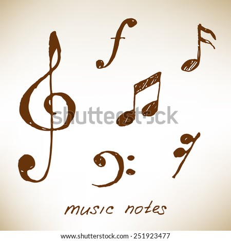 Hand-drawn music notes on brown paper. Vector illustration. - stock vector