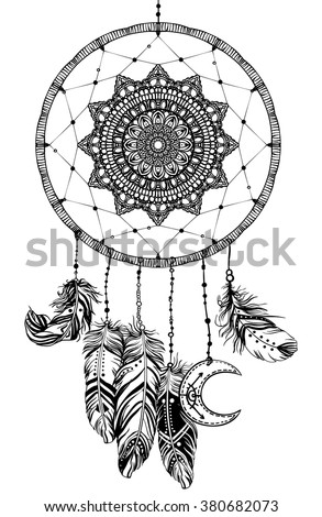 Hand drawn Native American Indian talisman dreamcatcher with feathers and moon. Vector hipster illustration isolated on white. Ethnic design, boho chic, tribal symbol. Coloring book for adults.  - stock vector