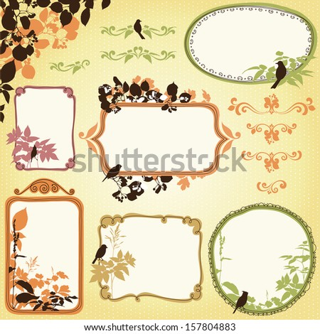Hand drawn nature frames, banners with leaves and birds. Seamless background.  - stock vector
