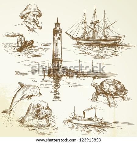 hand drawn nautical elements - stock vector