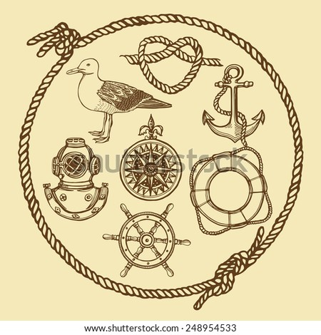 hand drawn nautical vintage set.  Anchor, lifebuoy, knot, diving helmet, wind rose, seagull, steering wheel Light yellow background - stock vector