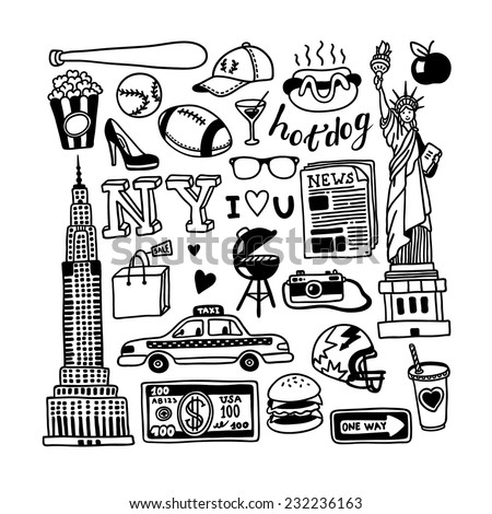 hand-drawn New York doodles  - stock vector