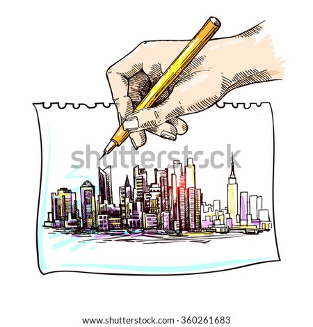 Hand drawn New York sketch for your design - stock vector