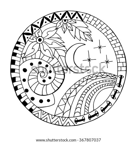 Hand drawn  night circle mandala for anti stress coloring page. Pattern for coloring book. Made by trace from sketch. Illustration in zentangle style. Monochrome variant. - stock vector