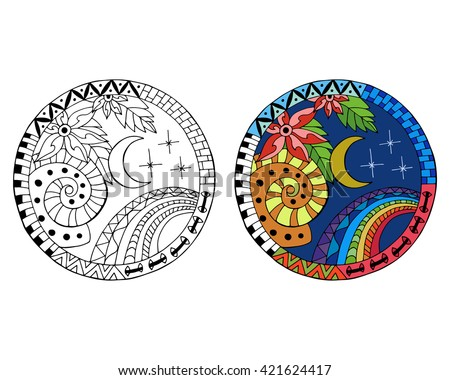 Hand drawn night circle mandalas for anti stress coloring page. Pattern for coloring book. Made by trace from sketch. Illustration in zentangle style. Monochrome and color variants. - stock vector