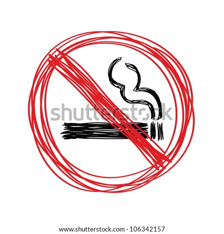Hand drawn no smoking on white - stock vector