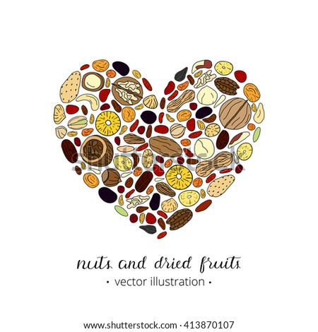 Hand drawn nuts and dried fruits composed in heart shape. Pecan, cashew, almond, brazil, pistachio, macadamia, hazelnut, walnut, peanut, fig, pineapple, cherry, strawberry, goji. - stock vector