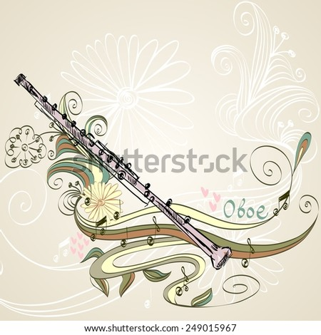 hand drawn oboe on a floral background - stock vector