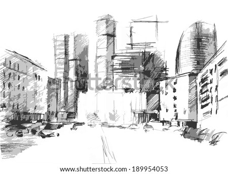 hand drawn of a big city with a modern skyscrapers in vector - stock vector
