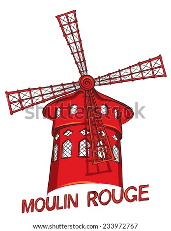 Hand drawn of cabaret Moulin Rouge in Paris, France. Vector illustration  - stock vector