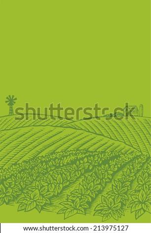 Hand drawn of farm scene - stock vector