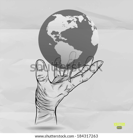 hand drawn of Hand holding a globe on crumpled paper background  - stock vector