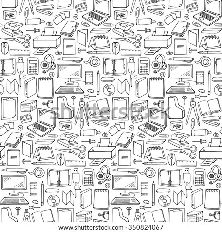Hand drawn Office seamless pattern. Vector illustration with doodle office seamless pattern for wrapping, backgrounds, wallpapers, textile prints - stock vector