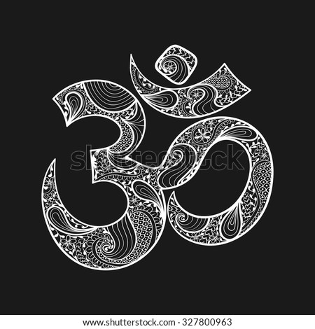 Hand drawn Ohm symbol, indian Diwali spiritual sign Om with high details isolated on black background, illustration in zentangle style. Vector monochrome sketch.  - stock vector