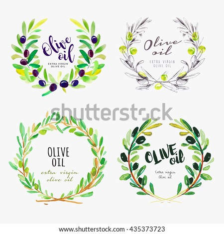 Hand drawn olive oil watercolor signs. Set of vector illustrations for olive oil labels, packaging design, natural products, restaurant and menu. - stock vector