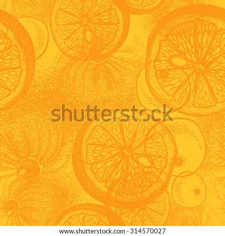 Hand drawn orange or lemon citrus fruit. Seamless wallpaper pattern with trace drawing of pen, ink and paper - stock vector