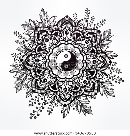 Hand drawn ornate flower in the crown of leaves with  Yin and yang Tao sign. Isolated Vector illustration. Invitation element. Tattoo, astrology, alchemy, boho and magic symbol. - stock vector