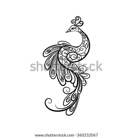 Peacock Henna Stock Vectors & Vector Clip Art | Shutterstock Peacock Pattern Outline