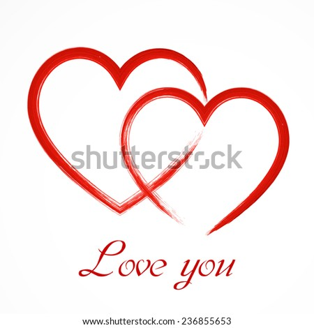 Hand-drawn painted acrylic heart with the inscription, vector element for your design  - stock vector