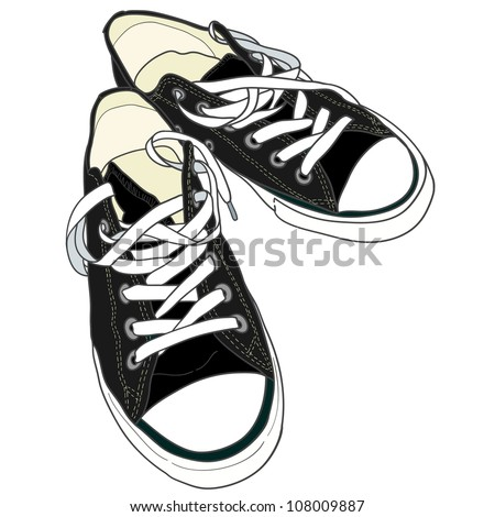 Hand drawn pair of black sneakers on the white background. Vector illustration. - stock vector