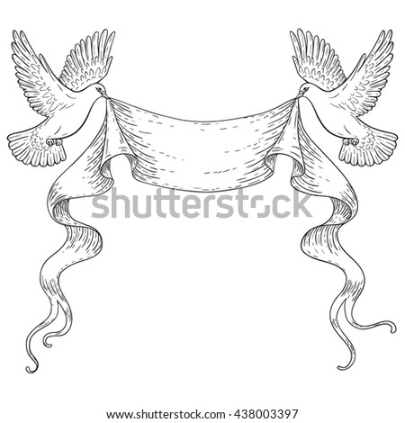 Hand drawn pair of flying doves with banner ribbon. Black and white contoured image. Space for text. Two pigeons vector sketch. Holiday decoration element. - stock vector