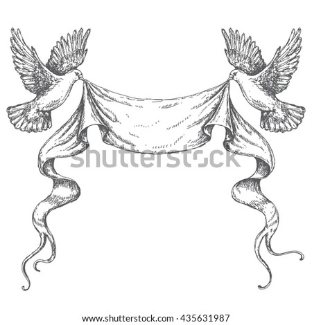 Hand drawn pair of flying doves with banner ribbon. Black and white image. Space for text. Two pigeons vector sketch. - stock vector