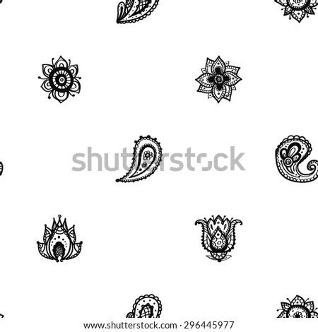 Hand Drawn paisley and mehendi graphic black line lace pickle, lotus, buta, tulip, flower, dahlia, peony decoration items on white background. Set of isolated floral wedding decorative elements. - stock vector
