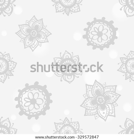 Hand drawn paisley and mehendi soft white seamless pattern. Light color line lace flower, circle, dahlia, peony decoration items. Winter floral wedding decorative elements.  - stock vector