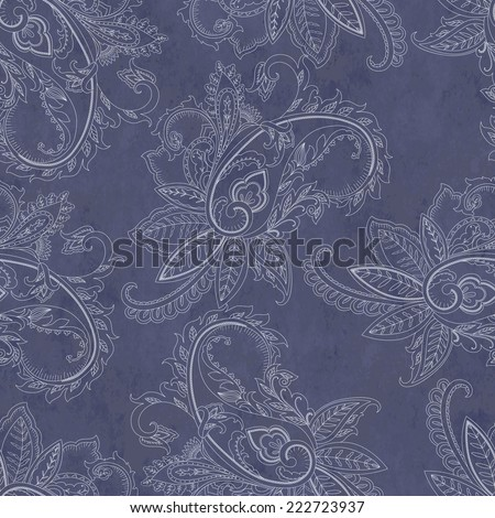 Hand-drawn paisley pattern. Ethnic design. Seamless background  - stock vector