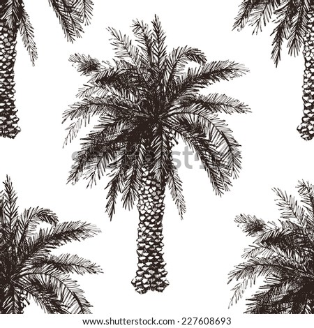 Hand drawn palm tree seamless in retro style - stock vector