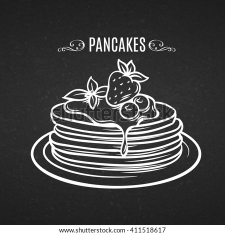 Hand drawn pancakes with strawberries and syrup. Decorative icon pancakes in style chalk board. Vector illustration of Pancakes on a plate. - stock vector