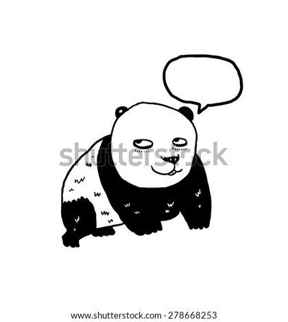 hand drawn panda - stock vector