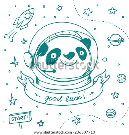 Hand drawn Panda Astronaut and ribbon for text or title. Vector colorful logo concept in doodle style. Banner with Good Luck wish.Vector hand drawing illustration isolated on white - stock vector