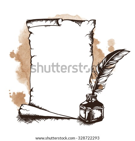 Hand-drawn paper scroll, feather and inkwell. Vector illustration - stock vector