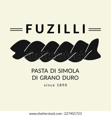 Hand drawn pasta illustration. Vector silhouette of fuzilli. Flat icon - stock vector