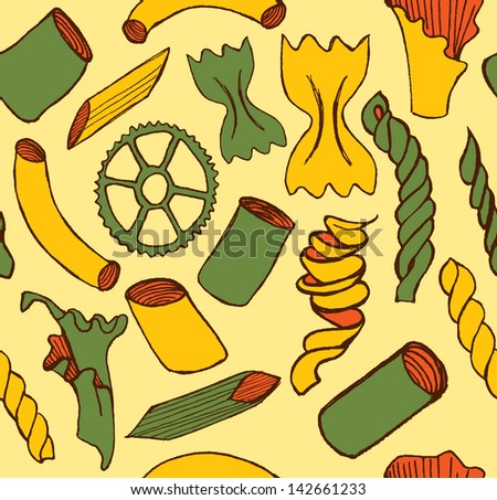 Hand-drawn pasta pattern. - stock vector